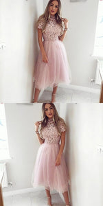 A-Line Jewel Mid-Calf Pink Homecoming Dress with Lace,M0592