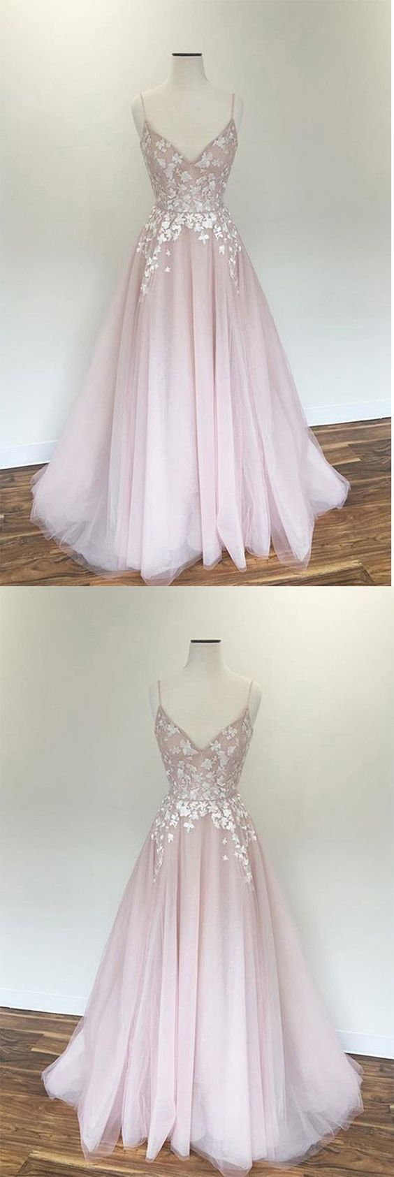 Light Pink V Neck Tulle Long Spaghetti Straps Appliques Prom Dress,M0616