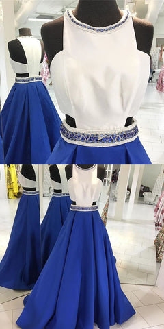 2019 Long Prom Dress, Royal Blue Prom Dress with White Top, Beads Long Prom Dress Formal Evening Dress,M0652