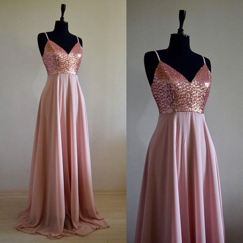 Charming Chiffon With Top Sequin Rose Gold Bridesmaid Dress, Wedding Reception Dress, Sequin Pink,M0666
