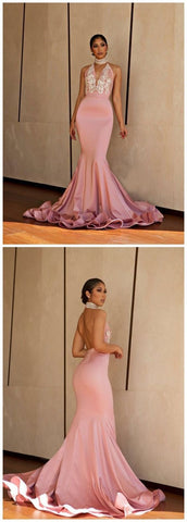Gorgeous Mermaid Halter Backless Blush Pink Lace Long Prom Dresses with Beading, Elegant Evening Dresses,M0700