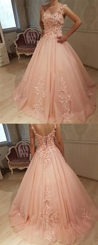Gorgeous Ball Gown Round Neck Open Back Peach Lace Long Prom Dresses, Elegant Evening Party Dresses,M0702