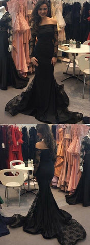 Charming Mermaid Off the Shoulder Long Sleeves Lace Black Prom Dresses, Elegant Evening Dresses,M0705