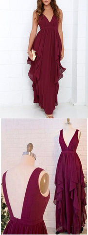 Fashion A Line V Neck Open Back Chiffon Burgundy Long Prom Dresses  Simple Evening Dressess,M0706