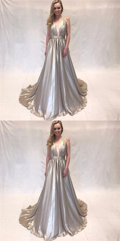 Gorgeous A Line V Neck Sparkly Satin Grey Long Prom Dresses with Train, Elegant Evening Party Dresses,M0707