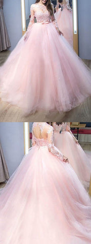 Elegant Ball Gown Round Neck Lace Pink Long Sleeves Long Prom Dresses with Beading, Quinceanera Dresses,M0709