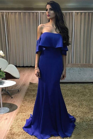 Charming Mermaid Off the Shoulder Ruffled Royal Blue Long Prom Dresses, Formal Evening Dresses,M0710