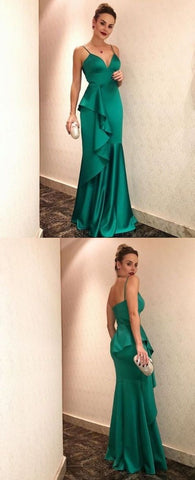 Charming Mermaid V Neck Spaghetti Straps Ruffled Green Long Prom Dresses, Elegant Evening Party Dresses,M0711