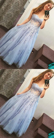 Gorgeous A Line Sweetheart Open Back Light Blue Beaded Lace Long Prom Dresses with Appliques, Beautiful Princess Dresses,M0714