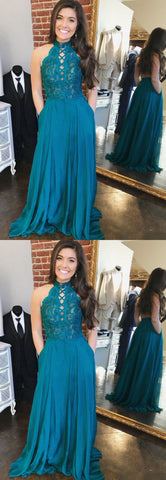 Charming A Line Halter Open Back Chiffon Peacock Blue Lace Long Prom Dresses, Formal Elegant Evening Dresses,M0715