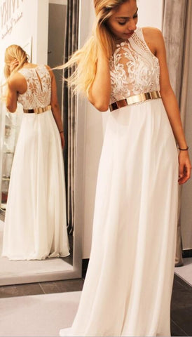 Gorgeous Ivory Long Prom Dress with Gold Belt, 2019 Prom Dress Formal Dress,M0747
