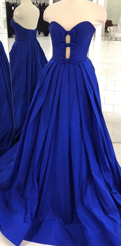 Strapless Royal Blue Long Prom Dress,M0752