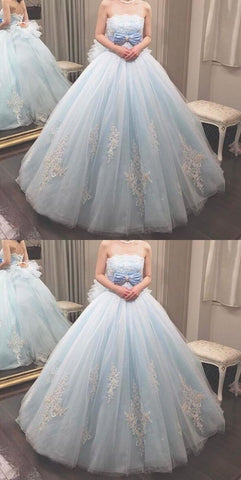Elegant Light Blue Strapless Tulle Ball Prom Dress, Appliques Quinceanera Dresses, Formal Evening Dress,Sweet 16 Dress,M0754