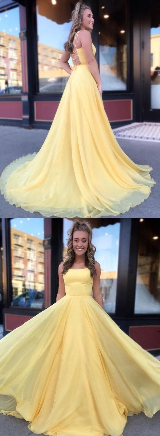 Yellow Long Prom Dresses, Chiffon Prom Dresses 2019 with Lace Up Back,M0757