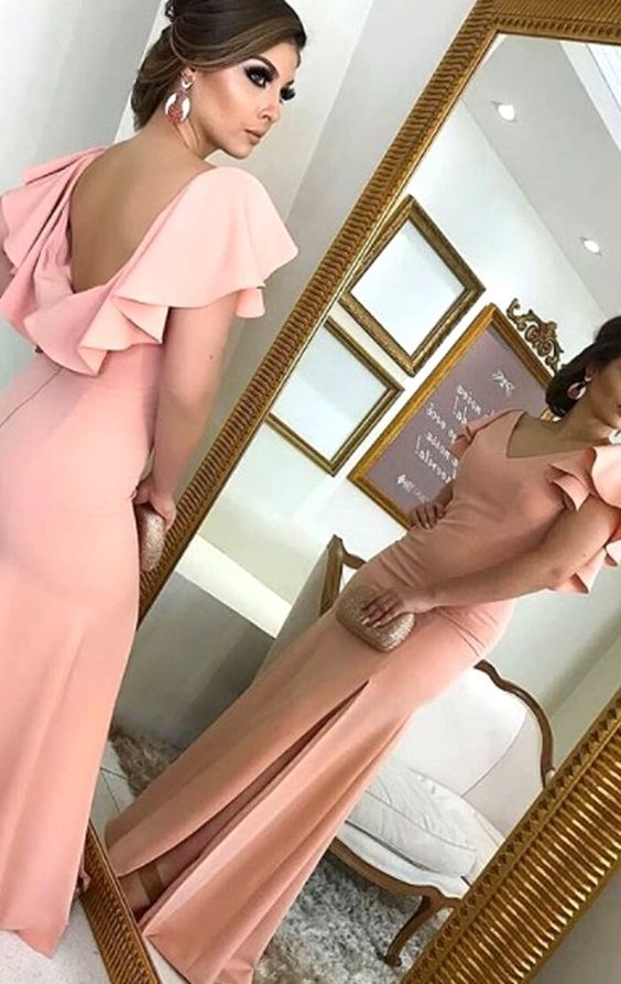 V Neck Sheath Blush Pink Long Prom Dress Jersey Formal Evening Gown,M0832