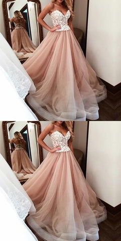 Sweetheart Long Prom Dresses White Applique,A-Line Evening Formal Dress,Bridal Dress,Wedding Party Dresses,M0845