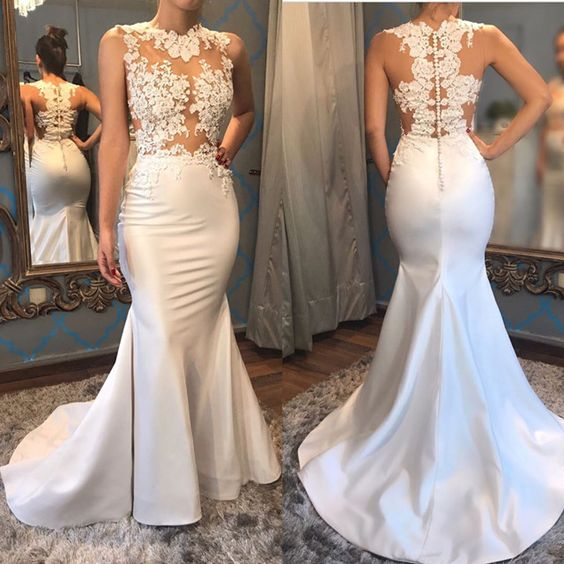 Elegant White Satin Mermaid Wedding Dresses Lace Appliques,M0862