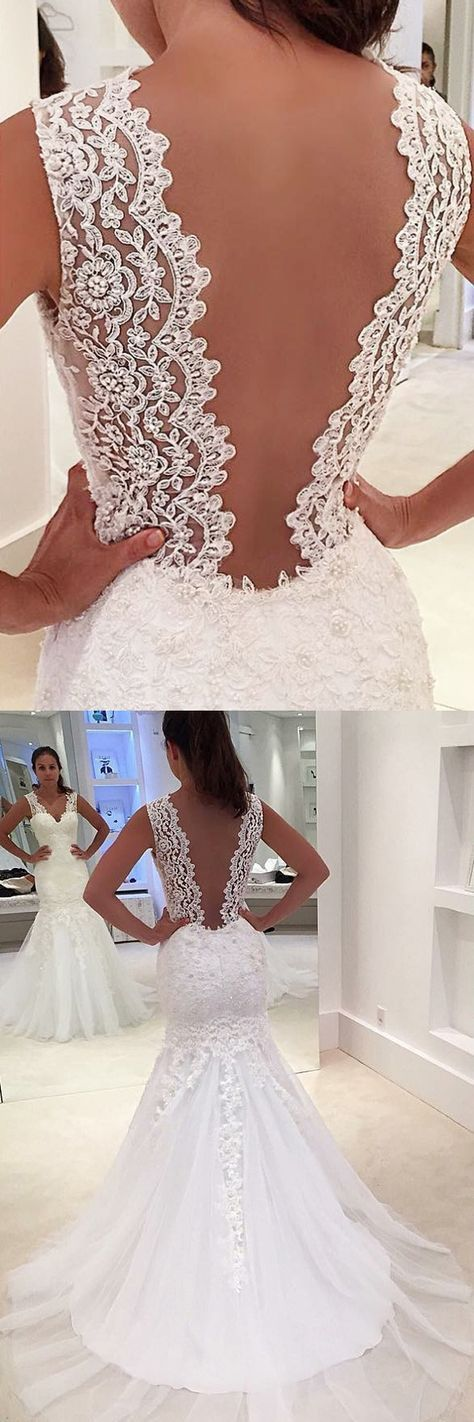 Mermaid Wedding Dresses Straps Sweep Train Appliques Sexy Bridal Gown ,M0864