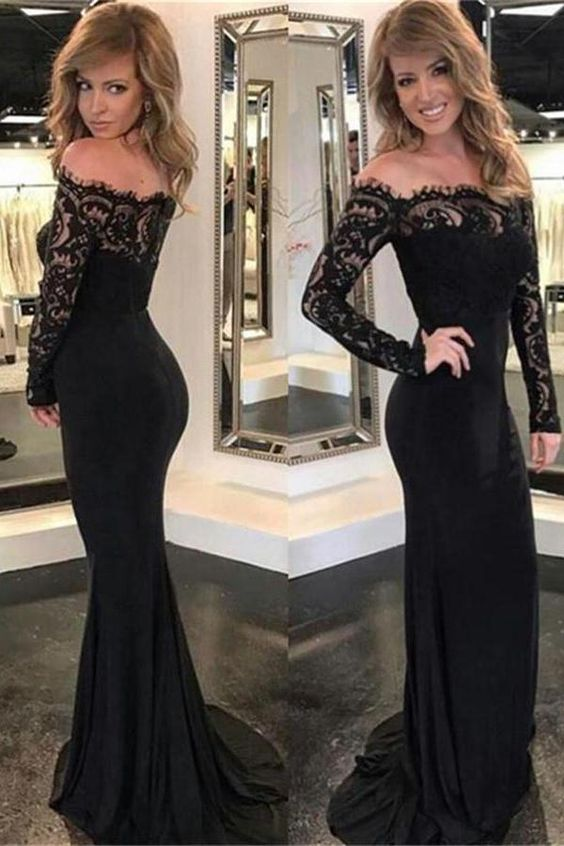 Mermaid Long Sleeves Boat Neckline Lace Long Black Prom Dresses,M0870