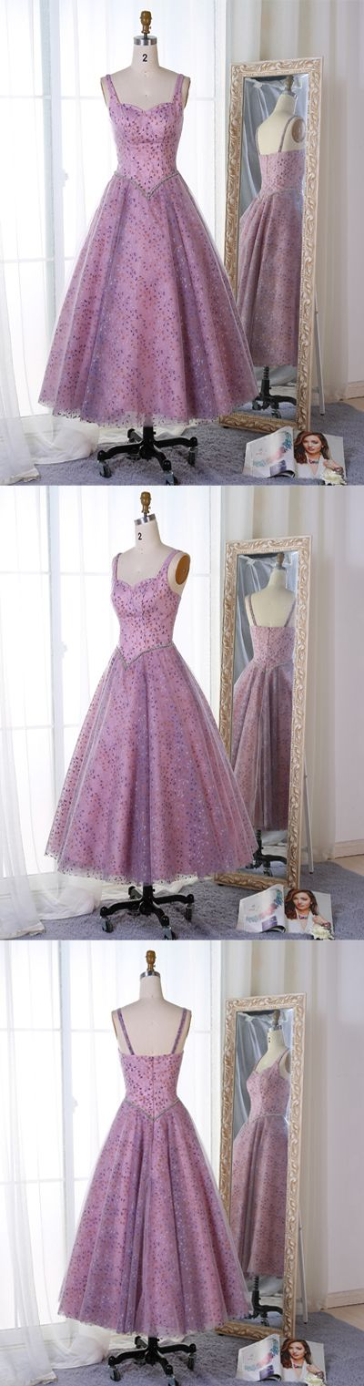 Princess A-Line Sweetheart Pink Tulle Tea-Length Prom/Evening Dress,M0872
