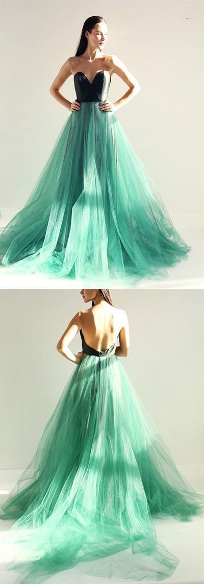 Sweetheart Mint Green Prom Dress with Tulle Skirt,Long Strapless Evening Dress,M0873