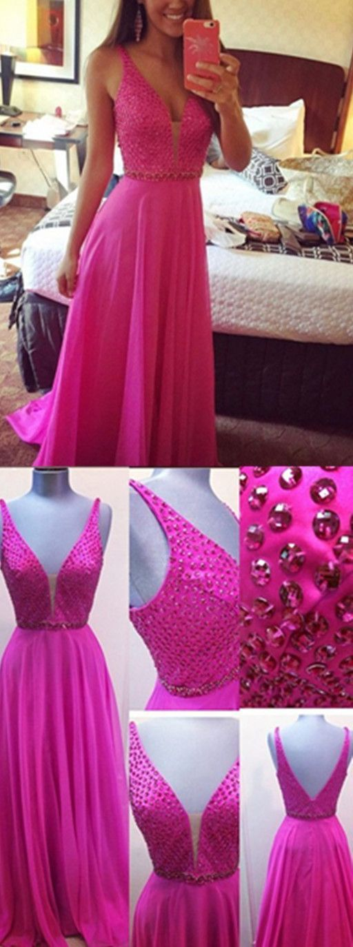 Charming Prom Dress,Backless Prom Dress,Chiffon Prom Dress,Formal Evening Dress,Elegant Prom Dress,Pretty Girl Dress Deep V-neck Beading Fuchsia Empire Long Chiffon Prom Dress,M0875