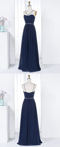 A-Line V-Neck Navy Blue Chiffon Long Bridesmaid Dress with Beading,M0931