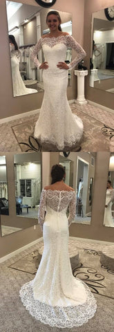 Mermaid Off-the-Shoulder Lace Wedding Dress with Long Sleeves,M0954