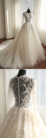 Ivory Tulle Chaple Train Wedding Dress with Long Sleeves,M0960