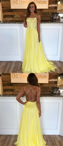 Yellow Halter Chiffon Prom Dress,Beaded Bodice Long Yellow Evening Dress,M0992