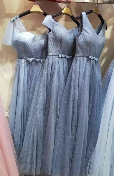 Charming Blue Tulle Bridesmaid Dress, A-Line Long Prom Dresses 2019,B0921