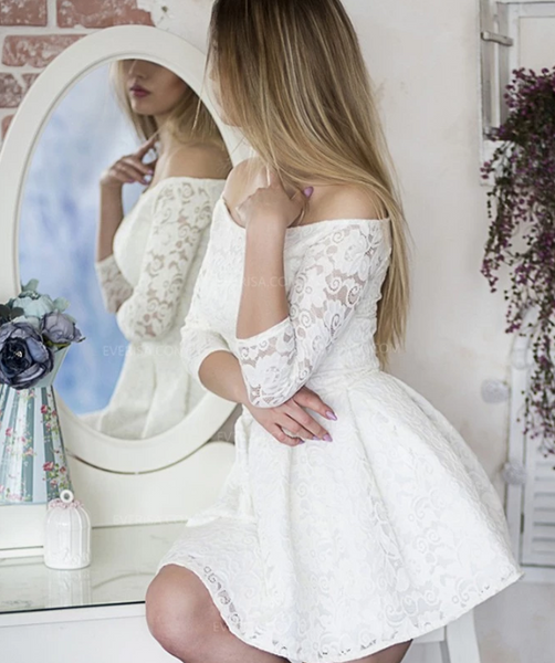 White 3/4 Sleeves Off Shoulder Homecoming Dresses,Lace Cocktail Dress,AP387