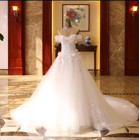 White Off Shoulder Sleeveless Appliques Wedding Dresses Beaded Bridal Gown,AP525