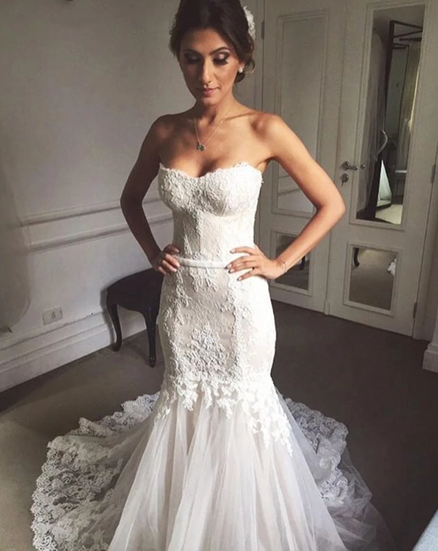 Strapless Sweetheart Mermaid Wedding Dresses Lace Appliques Bridal Gown,AP526