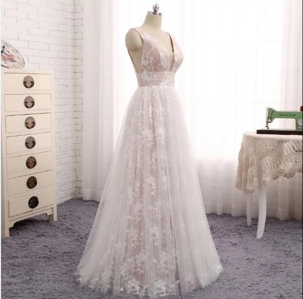 Simple V Neck Sleeveless Lace Appliques Wedding Dresses Long Bridal Gown,AP527