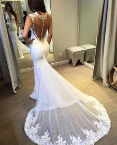 Deep V Neck Sleeveless Lace Appliques Wedding Dresses Long Bridal Gown,AP560