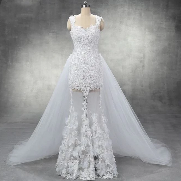 White Sweetheart Sleeveless Wedding Dresses Lace Applique Bridal Gown,AP569