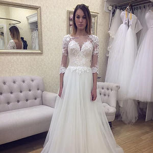V Neck Long Sleeve Wedding Dresses Lace Appliques Bridal Dresses,AP571