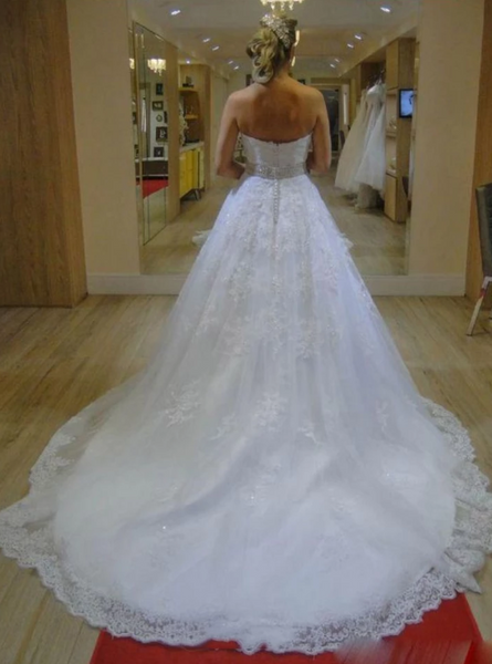 White Strapless Sweetheart Wedding Dresses Lace Applique Bridal Gown,AP572