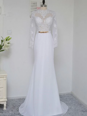 White Long Sleeve Open Back Lace Wedding Dresses Long Bridal Dresses,AP580