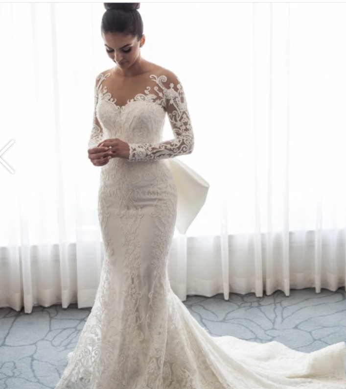 White Long Sleeve Lace Applique Wedding Dresses Mermaid Bridal Dresses,AP586