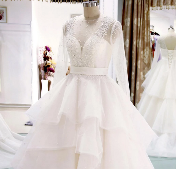 Long Sleeve Backless A Line Tulle Wedding Dresses Beaded Bridal Dresses,AP590