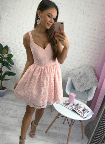 Stunning V-neck A-line Lace Pink Short Homecoming Dress with Zipper,AP725