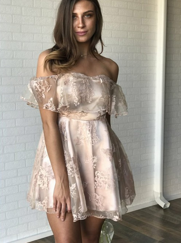 Off the Shoulder Gold Lace Tulle & Satin Short Homecoming Dress,AP738