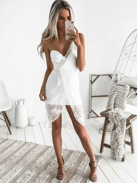 White One Shoulder Chiffon Tight Mini Homecoming Dress with Lace Applique,AP774