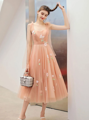 Tea Length A-line Cute Prom Dress Sweet 16 Beautiful Long Formal Dress,AE109