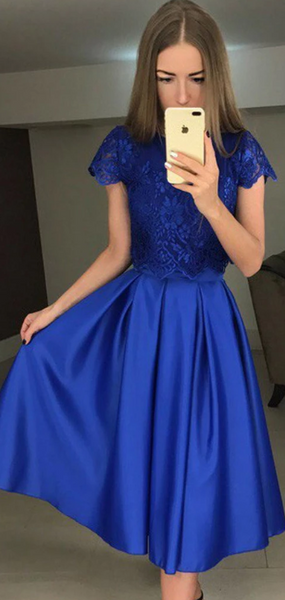 A-Line Two Pieces Round Neck Short Sleeves Royal Blue Homecoming Dresses With Lace,AE142