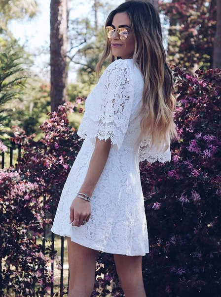 A-Line Deep V-Neck Half Sleeves Lace Cheap Short Homecoming Dresses,AE146
