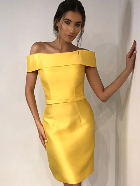 Sexy Sheath Off Shoulder Yellow Cheap Homecoming Dresses,AE147