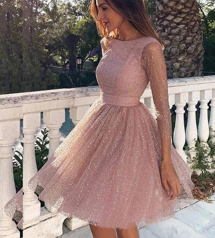 A Line Backless 3/4 Sleeves Knee Length Pink Homecoming Dress With Sequins,AE150